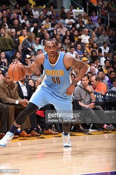 Darrell Arthur of the Denver Nuggets handles the ball against the Los Angeles Lakers on March 25 2016 at STAPLES Center in Los Angeles California...