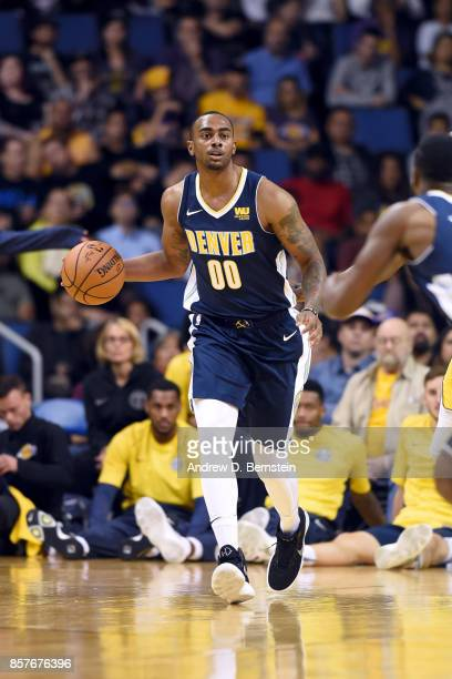 Darrell Arthur of the Denver Nuggets handles the ball against the Los Angeles Lakers on October 4 2017 at Citizens Business Bank Arena in Los Angeles...