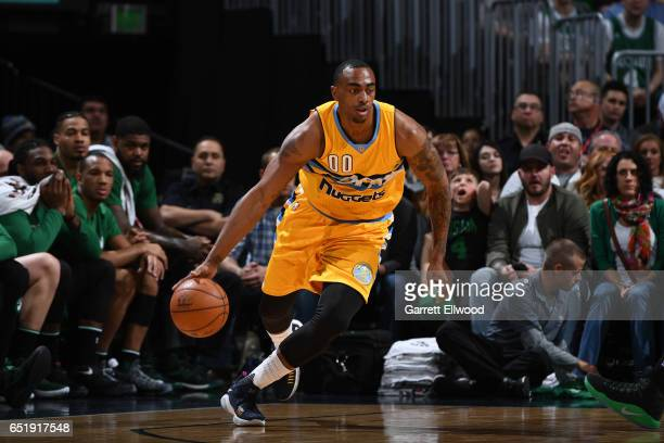 Darrell Arthur of the Denver Nuggets handles the ball against the Boston Celtics on March 10 2017 at the Pepsi Center in Denver Colorado NOTE TO USER...