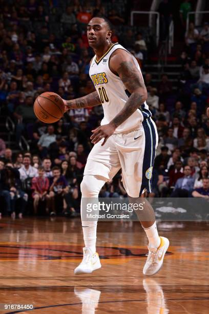 Darrell Arthur of the Denver Nuggets handles the ball against the Phoenix Suns on February 10 2018 at Talking Stick Resort Arena in Phoenix Arizona...