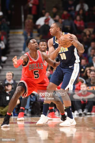 Darrell Arthur of the Denver Nuggets handles the ball during the game against the Chicago Bulls on March 21 2018 at the United Center in Chicago...
