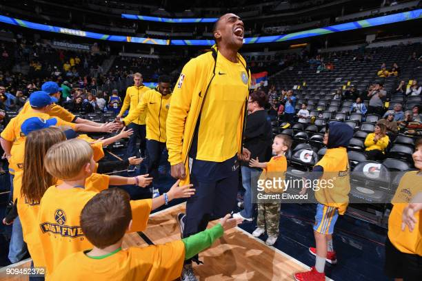 Darrell Arthur of the Denver Nuggets is introduced before the game against the Phoenix Suns on January 19 2018 at the Pepsi Center in Denver Colorado...