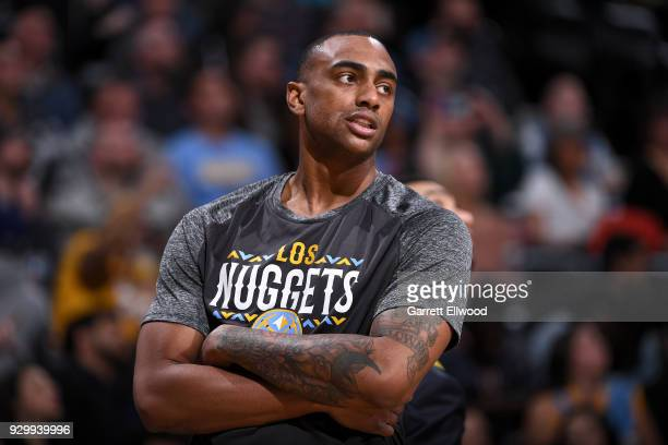 Darrell Arthur of the Denver Nuggets looks on during the game against the Los Angeles Lakers on March 9 2018 at the Pepsi Center in Denver Colorado...