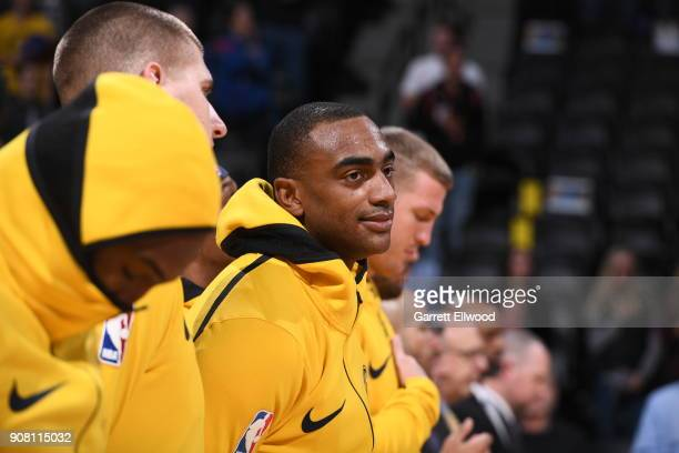 Darrell Arthur of the Denver Nuggets looks on prior to the game against the Phoenix Suns on January 19 2018 at the Pepsi Center in Denver Colorado...