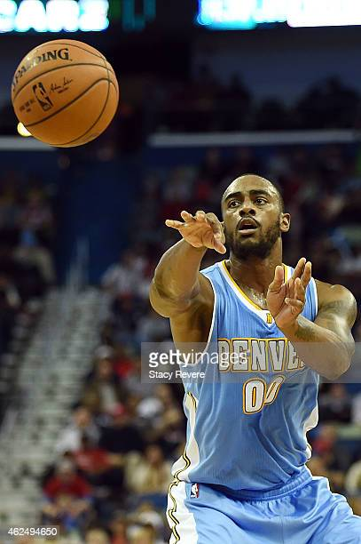 Darrell Arthur of the Denver Nuggets passes the ball during the second half of a game against the New Orleans Pelicans at the Smoothie King Center on...