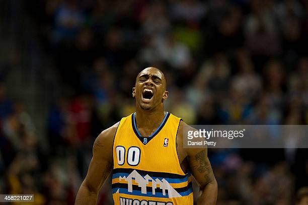 Darrell Arthur of the Denver Nuggets reacts after hitting a jump shot against the Phoenix Suns during the fourth quarter of an NBA game at the Pepsi...