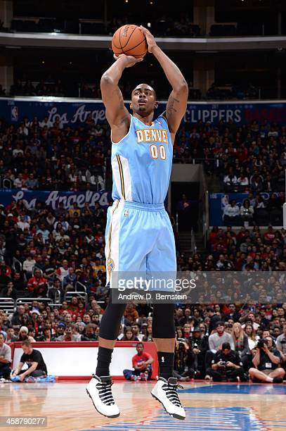 Darrell Arthur of the Denver Nuggets shoots during a game against the Los Angeles Clippers at STAPLES Center on December 21 2013 in Los Angeles...