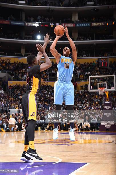 Darrell Arthur of the Denver Nuggets shoots the ball against the Los Angeles Lakers on March 25 2016 at STAPLES Center in Los Angeles California NOTE...