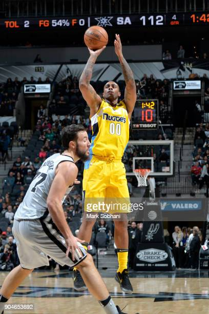 Darrell Arthur of the Denver Nuggets shoots the ball against the San Antonio Spurs on January 13 2018 at the ATT Center in San Antonio Texas NOTE TO...