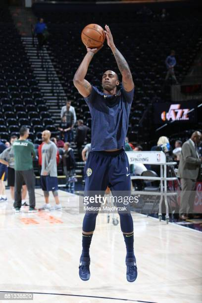 Darrell Arthur of the Denver Nuggets warms up before the game against the Utah Jazz on November 28 2017 at vivintSmartHome Arena in Salt Lake City...