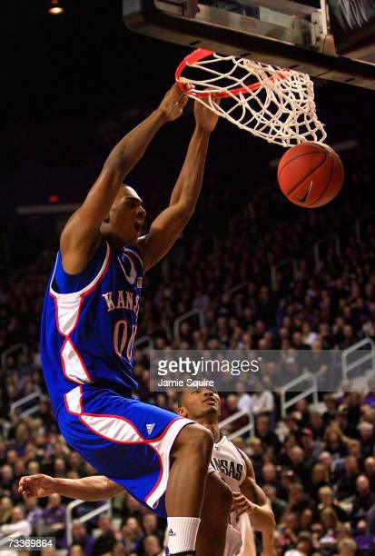 Darrell Arthur of the Kansas Jayhawks dunks during the first half of a game against the Kansas State Wildcats February 19, 2007 at Bramlage Coliseum...