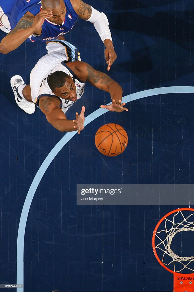 Darrell Arthur #00 of the Memphis Grizzlies grabs the rebound against the Los Angeles Clippers in Game Six of the Western Conference Quarterfinals during the 2013 NBA Playoffs on May 3, 2013 at FedExForum in Memphis, Tennessee.