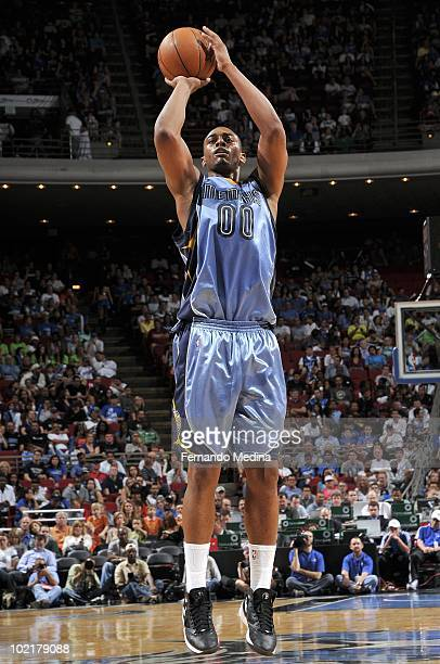 Darrell Arthur of the Memphis Grizzlies shoots a jump shot during the game against the Orlando Magic at Amway Arena on April 4 2010 in Orlando...