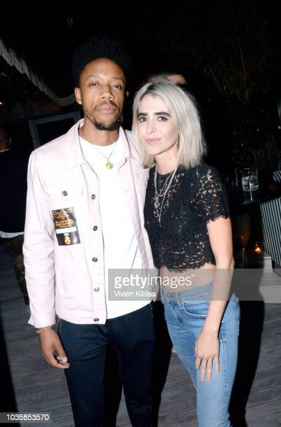 Darrell BrittGibson and Ashley Barnhill attend Dave Chappelle Private After Party At The hwood Group's Special Preview Of Harriet's Rooftop Lounge at...