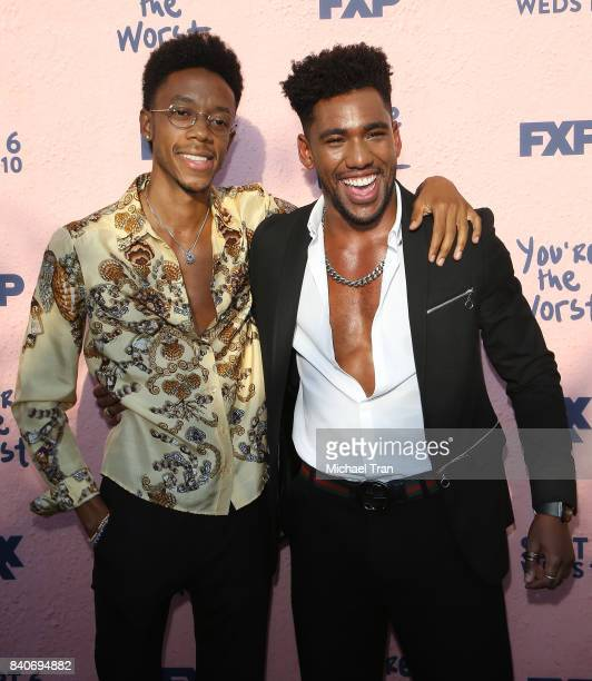 Darrell BrittGibson and Brandon Mychal Smith attend the Los Angeles premiere of FXX's 'You're The Worst' season 4 held at Museum of Ice Cream LA on...