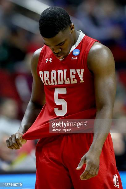 Darrell Brown of the Bradley Braves reacts in the final moments of their 7665 loss to the Michigan State Spartans in the First Round of the NCAA...