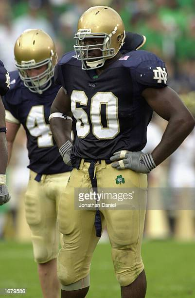 Darrell Campbell of the Notre Dame Fighting Irish looks on during the game against the Pittsburgh Panthers on October 12, 2002 at Notre Dame Stadium...