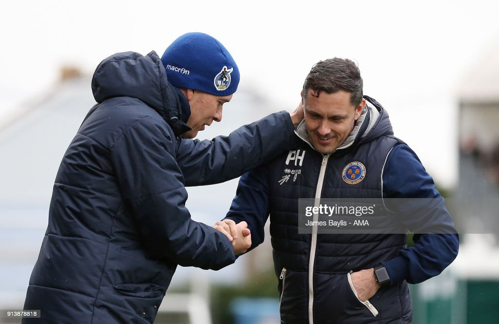 Darrell Clarke the head coach / manager of Bristol Rovers and Paul Hurst the head coach / manager of Shrewsbury Town during the Sky Bet League One match between Bristol Rovers and Shrewsbury Town at Memorial Stadium on February 3, 2018 in Bristol, England.