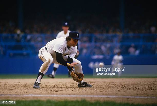Darrell Evans thirdbaseman for the Detroit Tigers fields a ball against the San Diego Padres during the World Series at Tiger Stadum in Detroit...