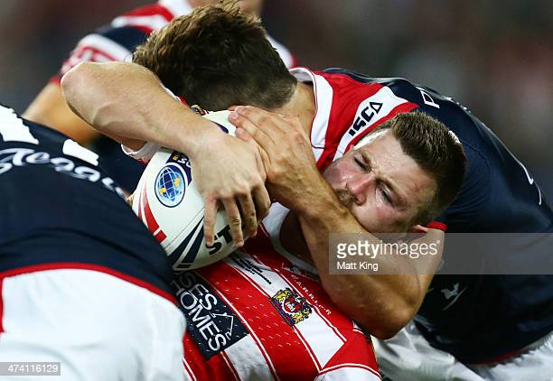 Darrell Goulding of the Warriors is tackled during the NRL World Club Challenge match between the Sydney Roosters and the Wigan Warriors at Allianz...