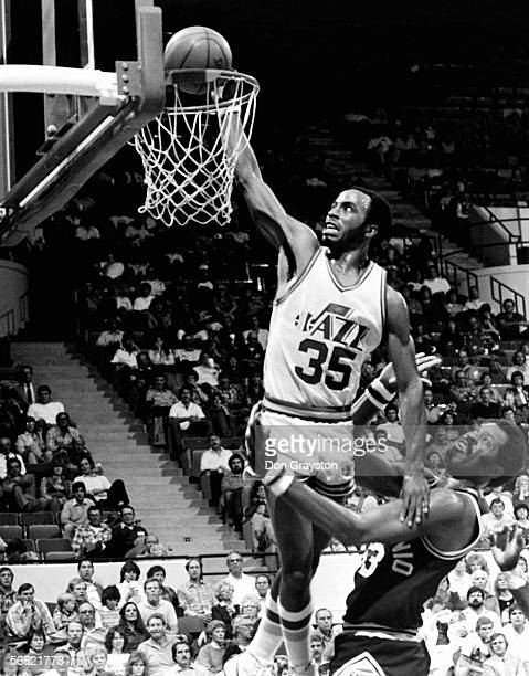 Darrell Griffith of the Utah Jazz dunks against the San Antonio Spurs during a 1991 NBA game at Salt Lake Palace in Salt Lake City Utah NOTE TO USER...