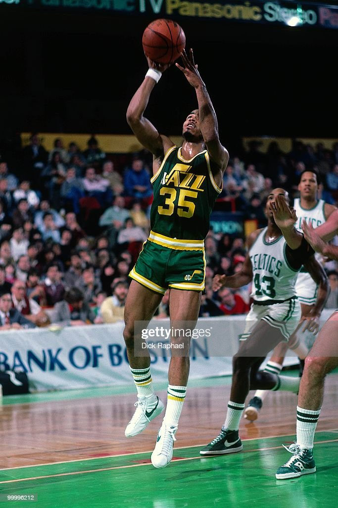 Darrell Griffith #35 of the Utah Jazz goes up for a shot against the Boston Celtics during a game played in 1983 at the Boston Garden in Boston, Massachusetts.