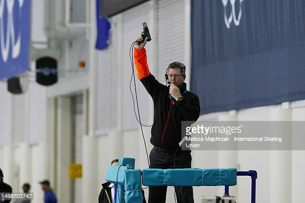 Darrell Haack of the ISU starts the Race on day one of the ISU World Cup Speed Skating Salt Lake City event at the Utah Olympic Oval on November 20,...