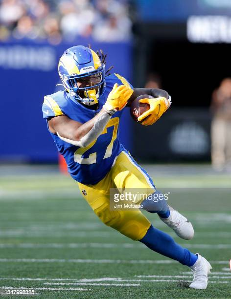 Darrell Henderson Jr. #27 of the Los Angeles Rams in action against the New York Giants at MetLife Stadium on October 17, 2021 in East Rutherford,...