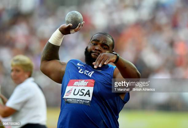 Darrell Hill of the USA competes in the Men's Shot Put during day one of the Athletics World Cup London at the London Stadium on July 14, 2018 in...