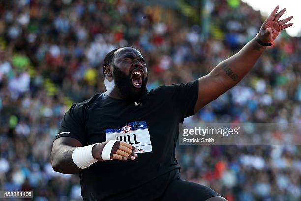 Darrell Hill participates in the Men's Shot Put Final during the 2016 US Olympic Track Field Team Trials at Hayward Field on July 1 2016 in Eugene...