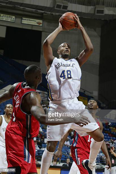 Darrell Johns of the Roanoke Dazzle puts up a shot against the Fayetteville Patriots during Game One of the NBDL Semifinals at the Crown Coliseum on...