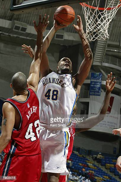 Darrell Johns of the Roanoke Dazzle shoots a layup against the Fayetteville Patriots during Game One of the NBDL Semifinals at the Crown Coliseum on...