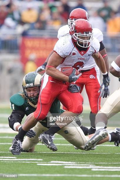 Darrell Mack of the University of Utah Utes runs during the game against the Colorado State University Rams at Hughes Stadium in Fort Collins...