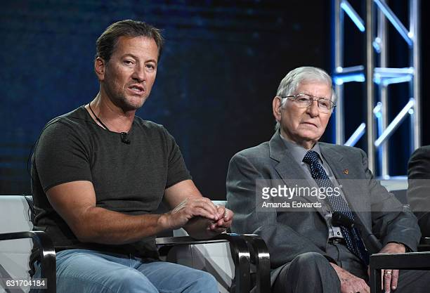 Darrell Miklos and McDonnell Douglas Engineer Jerry Roberts speak onstage during the 'Cooper's Treasure' panel at Discovery Communications Winter TCA...