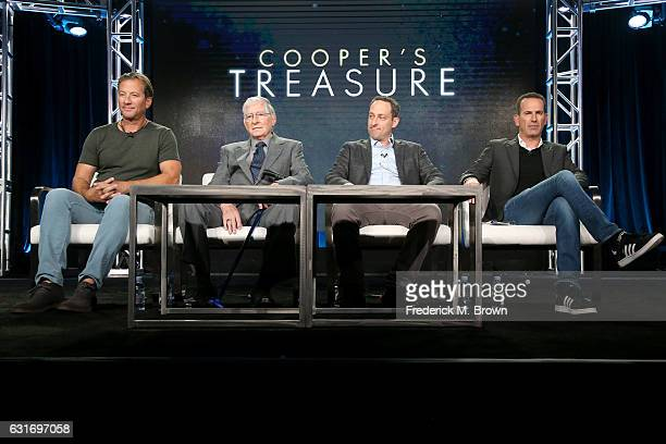 Darrell Miklos Jerry Roberts and executive producers Ari Mark and Darryl Frank of the docuseries 'Cooper's Treasure' speak onstage during the...
