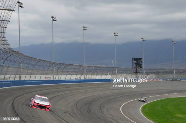 Darrell Wallace Jr driver of the Farmer John Chevrolet drives during practice for the Monster Energy NASCAR Cup Series Auto Club 400 at Auto Club...