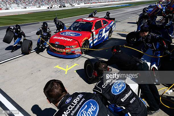 Darrell Wallace Jr driver of the Ford EcoBoost Ford pits during the NASCAR XFINITY Series Heads Up Georgia 250 at Atlanta Motor Speedway on February...