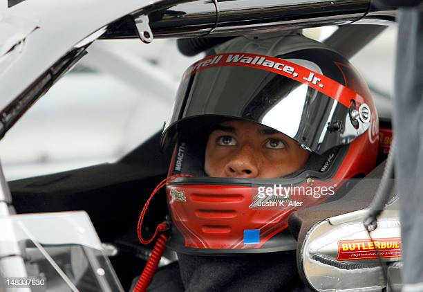 Darrell Wallace Jr driver of the Joe Gibbs Racing Toyota looks on during the NASCAR KN Pro Series East Samuel 150 on July 14 2012 at CNB Bank Raceway...