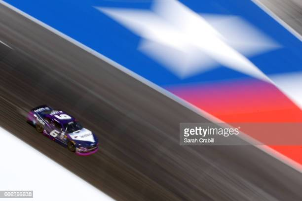 Darrell Wallace Jr driver of the Leidos Ford races during the NASCAR XFINITY Series My Bariatric Solutions 300 at Texas Motor Speedway on April 8...