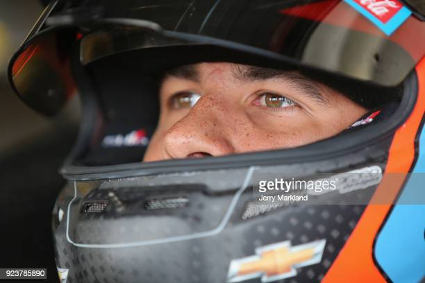 Darrell Wallace Jr driver of the NASCAR Racing Experience Chevrolet sits in his car during practice for the Monster Energy NASCAR Cup Series Folds of...