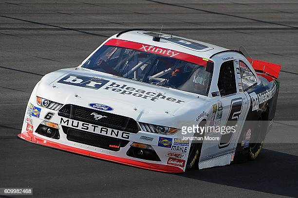 Darrell Wallace Jr driver of the Report Ford Mustang Ford on track during practice for the NASCAR XFINITY Series VysitMyrtleBeachcom 300 at Kentucky...
