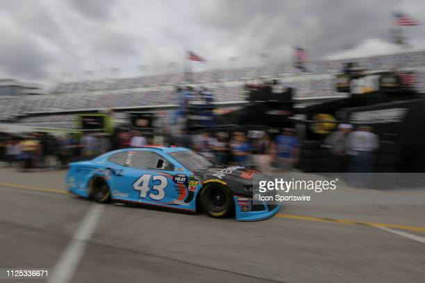 Darrell Wallace Jr driver of the Richard Petty Motorsports Aftershokz Chevrolet Camaro during final practice for the Daytona 500 on February 16 2019...