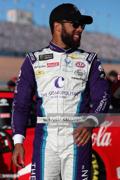 Darrell Wallace Jr driver of the The Cosmopolitan of Las Vegas Chevrolet walks to his car during qualifying for the Monster Energy NASCAR Cup Series...