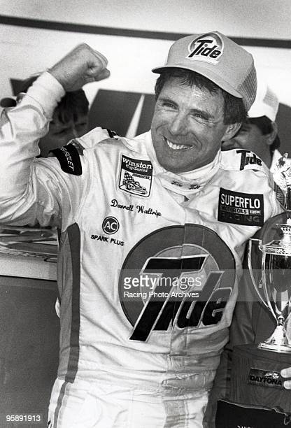 Darrell Waltrip celebrates in Victory Lane after winning the Daytona 500 Waltrip would take home $184000 for the win