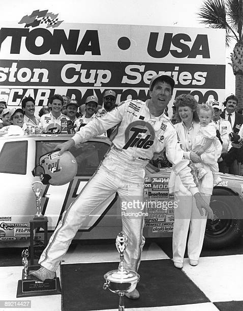 Darrell Waltrip celebrates in victory lane following his one and only Daytona 500 win performing the Ickey Shuffle a dance created by NFL player...