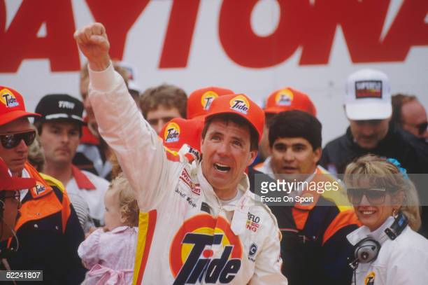 Darrell Waltrip celebrates with his Tide crew after winning the Daytona 500 at the Daytona Speedway on February 19 1989 at Daytona Beach Florida