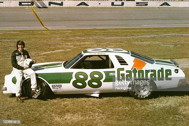 Darrell Waltrip poses with one of his DiGard NASCAR Cup Chevrolets at Daytona International Speedway Waltrip drove for DiGard from 1976 through 1980...