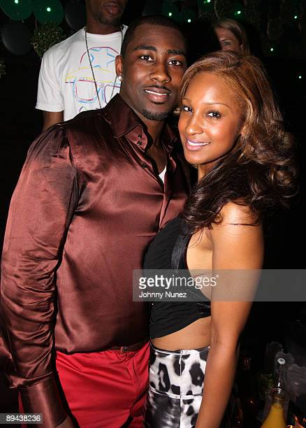 Darrelle Revis and Olivia attend Darrelle Revis' birthday party at Greenhouse on July 28 2009 in New York New York