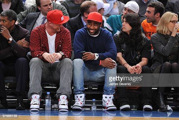 Darrelle Revis attends a game between the Denver Nuggets and the New York Knicks at Madison Square Garden on March 23, 2010 in New York City.