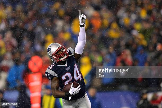Darrelle Revis of the New England Patriots celebrates after an interception in the third quarter against the Indianapolis Colts of the 2015 AFC...
